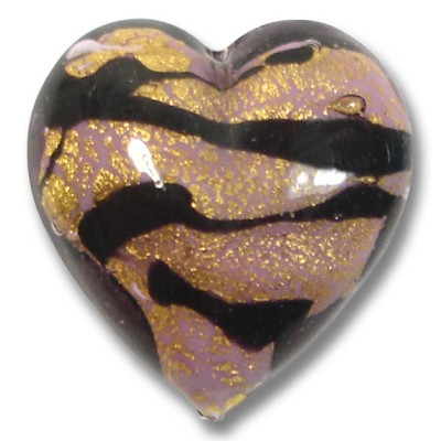 1 Murano Glass White Core Goldfoiled Light Amethyst and Black Heart