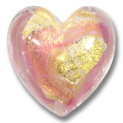 1 Murano Glass Goldfoiled White Heart Goldfoiled Ruby Rose Heart