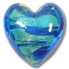 1 Murano Glass Goldfoiled White Core Turquoise Velvet Sapphire Heart