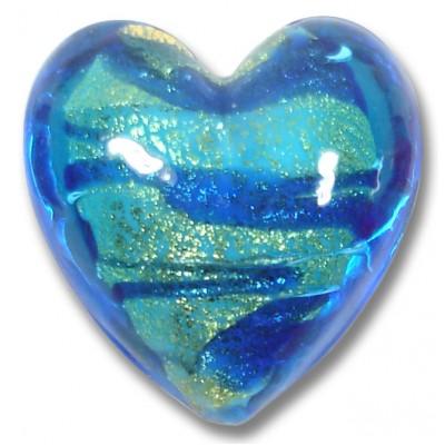 1 Murano Glass Goldfoiled White Core Turquoise Velvet Sapphire Heart