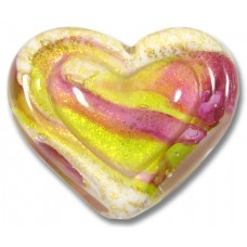 1 Murano Glass White Heart Goldfoiled Ruby Rose and Lime Embossed Heart
