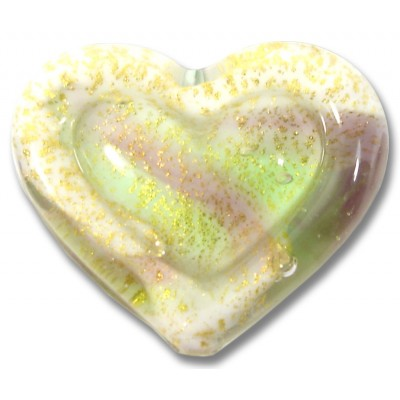 1 Murano Glass White Heart Goldfoiled Amethyst Lime Embossed Heart