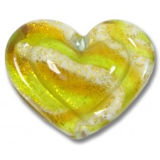 1 Murano Glass White Heart Goldfoiled Lime Golden Topaz Embossed Heart