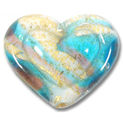 1 Murano Glass White Heart Goldfoiled Turquoise Amethyst Embossed Heart