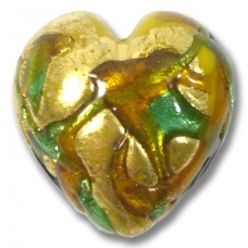 1 Murano Glass Goldfoil Turquoise Emerald Golden Topaz Heart