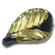 1 Murano Glass Gold Foiled Black Elica Twist Leaf Bead