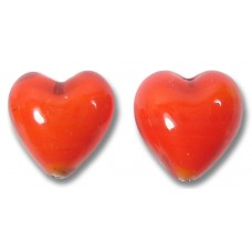 Pair Murano Glass Hearts Orange Coral White Core