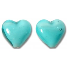 Pair Murano Glass Hearts Turquoise White Core