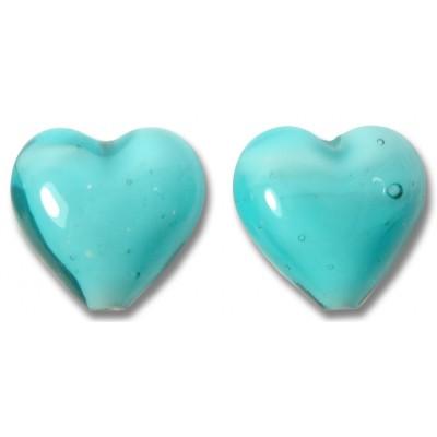 Pair Murano Glass Hearts Turquoise White Core