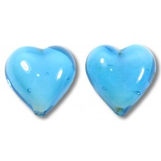 Pair Murano Glass 14mm Hearts Turquoise White Core
