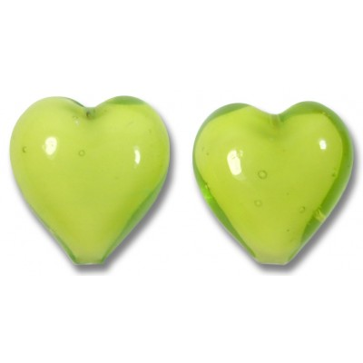 Pair Murano Glass Hearts Lime White Core