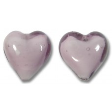 Pair Murano Glass Hearts Light Amethyst White Core