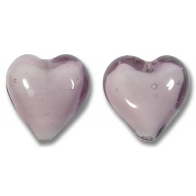 Pair Murano Glass Hearts Light Amethyst White Core