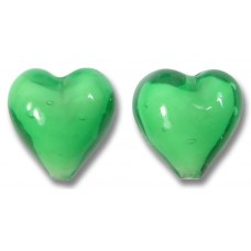 Pair Murano Glass Hearts Emerald White Core