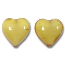 Pair Murano Glass Hearts Topaz White Core