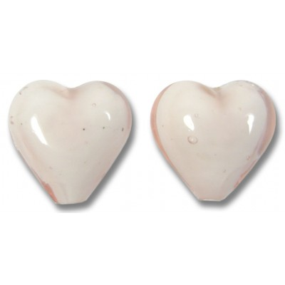 Pair Murano Glass Hearts Soft Pink White Core
