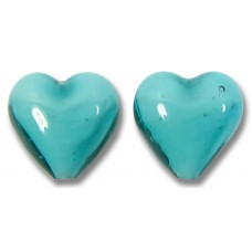 Pair Murano Glass Hearts Verde Marino White Core
