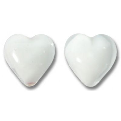 Pair Murano Glass Hearts Crystal White Core