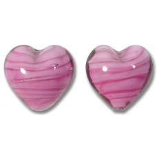 Pair Murano Glass Hearts Rosa White Core