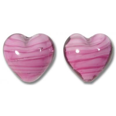 Pair Murano Glass Hearts Rosa White Core
