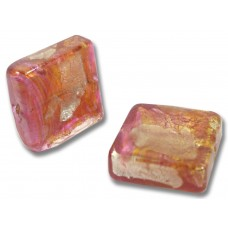 1 Murano Glass Goldfoiled Rosy Ruby Spangle Bead