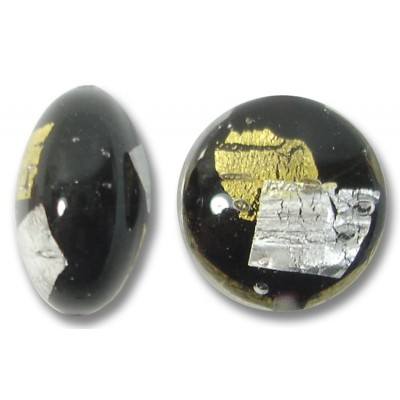 1 Murano Glass Midnight Treasure 14mm Lentil Bead