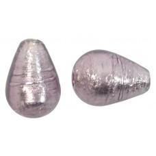 1 Murano Glass Light Amethyst Silverfoil Drop