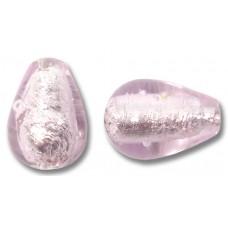 1 Murano Glass Pale Pink Silverfoil Drop