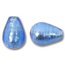 1 Murano Glass Sapphire Silverfoil Drop