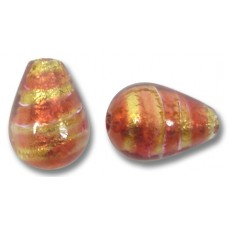 1 Murano Glass Rose Goldfoil Drop