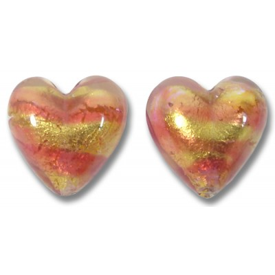 Pair Murano Glass Rose Goldfoil 14mm Heart Beads