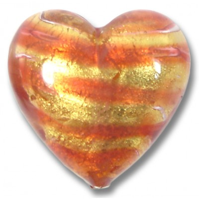 1 Murano Glass Rose Goldfoil 20mm Heart