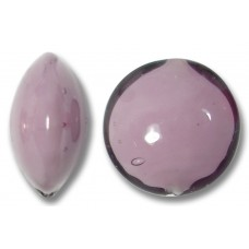 1 Murano Glass Amethyst over White Core 14mm Lentil Bead