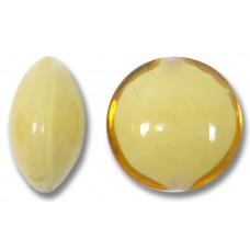 1 Murano Glass Topaz over White Core 14mm Lentil Bead