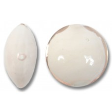1 Murano Glass Pale Pink over White Core Lentil Bead