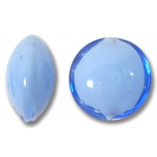 1 Murano Glass Periwinkle Blue over White Core Lentil Bead