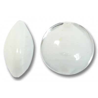 1 Murano Glass Clear over White Core 14mm Lentil Bead
