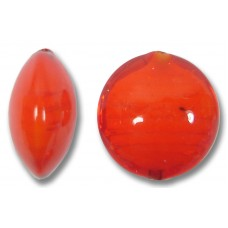 1 Murano Glass Arancio over White Core 14mm Lentil Bead