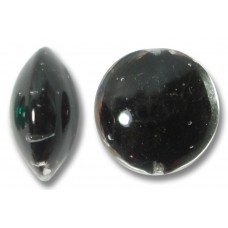 1 Murano Glass Clear over Black Core 14mm Lentil Bead