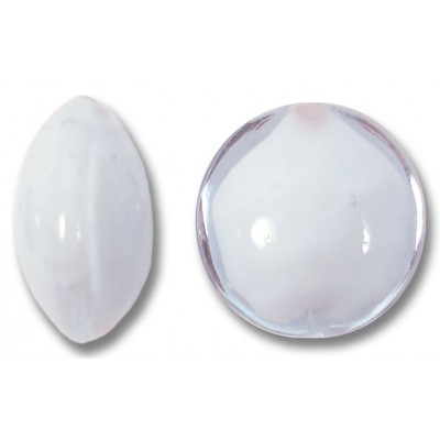 1 Murano Glass Alexandrite over White Core 14mm Lentil Bead