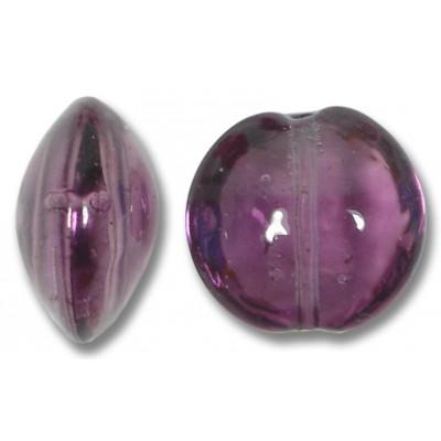 1 Murano Glass Amethyst 14mm Lentil Bead