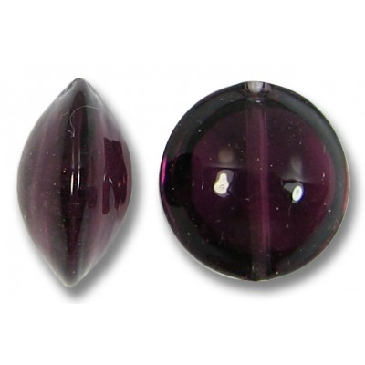 1 Murano Glass Dark Amethyst Lentil Bead