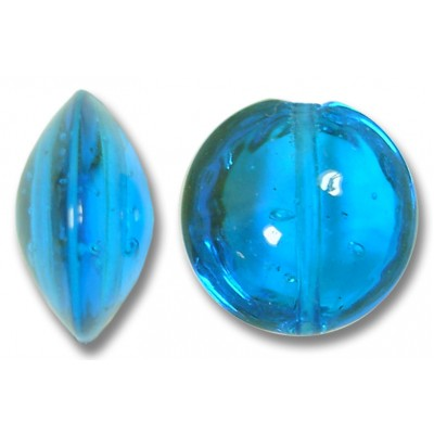 1 Murano Glass Dark Aquamarine 14mm Lentil Bead