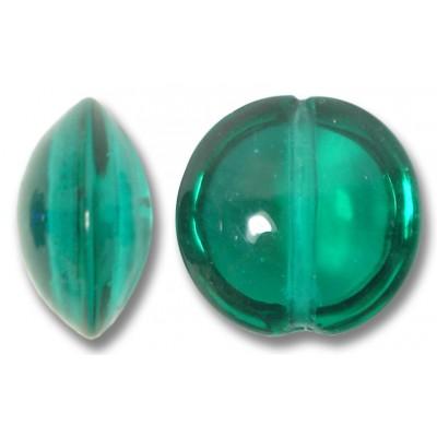 1 Murano Glass Verde Marino 14mm Lentil Bead