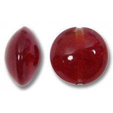 1 Murano Glass Dark Ruby 14mm Lentil Bead
