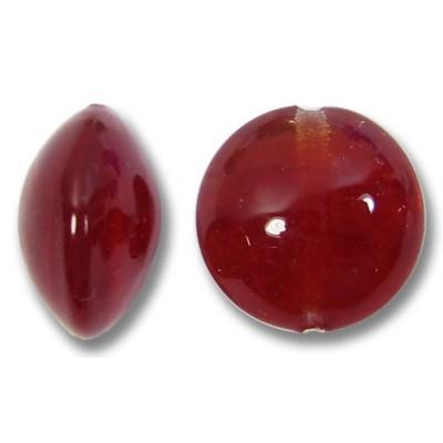 1 Murano Glass Dark Ruby 14mm Lentil Bead