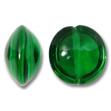 1 Murano Glass Emerald 14mm Lentil Bead
