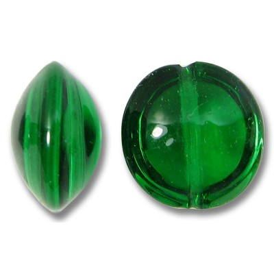 1 Murano Glass Emerald 14mm Lentil Bead