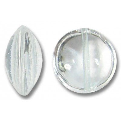 1 Murano Glass Crystal Clear Lentil Bead