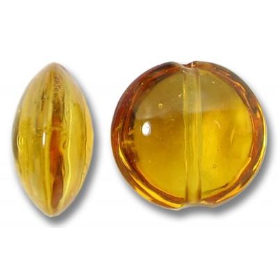1 Murano Glass Medium Topaz Lentil Bead